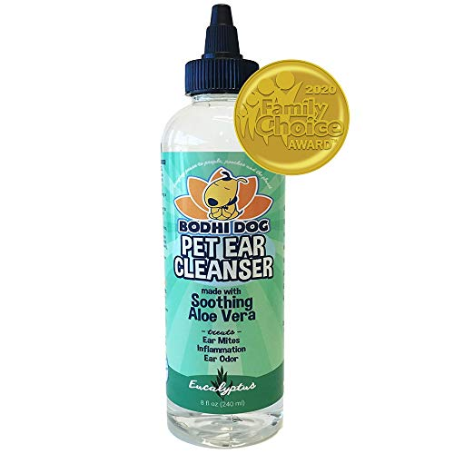 All Natural Pet Ear Cleaner for Dogs and Cats | Eucalyptus & Aloe Vera Cleaning Treatment for Ear Mites Yeast Infection Fungus & Odor | Gentle Solution Cleanser for Ears - 1 Bottle 8oz (240ml)