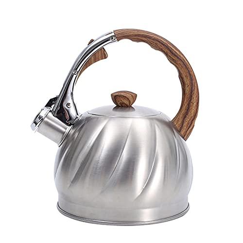 Hervidores De Estufa 2L acero inoxidable silbido tetal tetal tetera cafetera con mango a prueba de calor para cocinas de inducción de gas hervidor de agua ( Color : Silver , Size : One size )