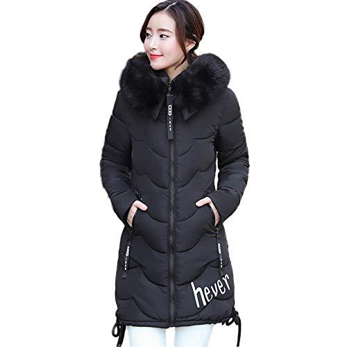 Winter Klassisch Daunenjacke Damen Warme Mantel Frauen Lange Dicke Pelzkragen Baumwolle Parka Slim Jacke FRAUIT Zipper Einfarbig Warm Jumper Top Outwear Bluse (XL, V-Schwarz)