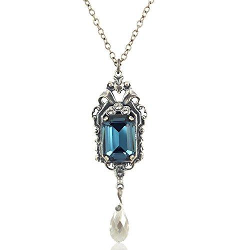 nobel-schmuck Jugendstil Kette mit Kristallen von Swarovski® Silber Blau