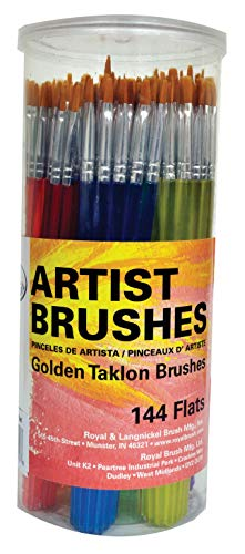 Royal Brush Flat Synthetic Golden Taklon Hair Polymer Handle Classroom Value Brush Set, Assorted Size, Set of 144 - 1440162