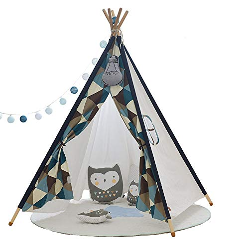 WH-IOE Teepee for Kids Teepee Tent For Kids Children Indoor/Outdoor Foldable Tipi Tents For Children Toddler Indoor And Outdoor Games 110x110x155cm Toys for Indoor and Outdoor