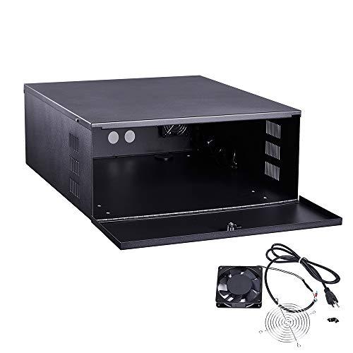 KENUCO Heavy Duty 16 Gauge Steel DVR Security Lockbox with Fan (BK 18'' x 18'' x 5'')