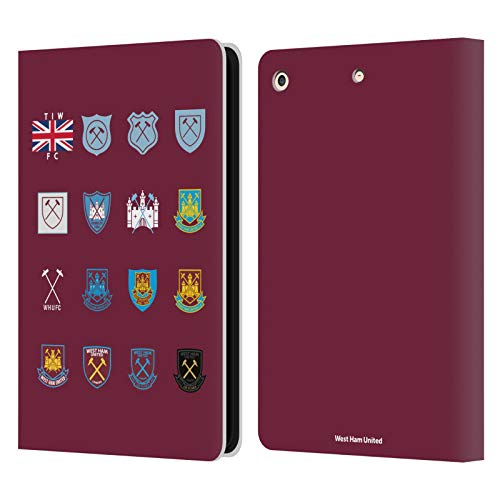 Official West Ham United FC Pattern 3 Crest History Leather Book Wallet Case Cover Compatible For Apple iPad Air (2013)