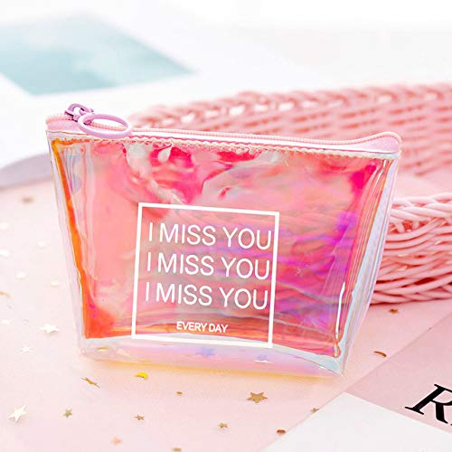 Transparent Cosmetic Bag Fashion Travel Makeup Bag Zipper Make Up Organizer Pouch Toiletry Student Pencil Pouch C-Pink