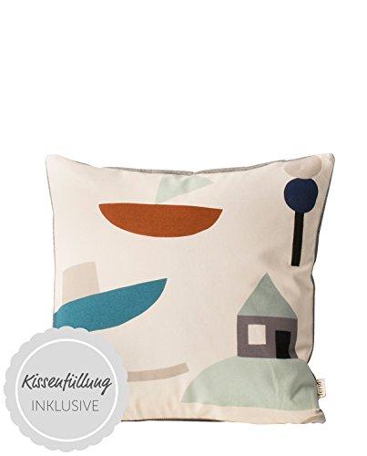 Ferm Living - Kissen, Kissenhülle, Zierkissen - Seaside - 40 x 40 cm - 100 % Bio-Baumwolle