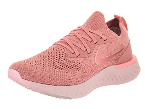 Nike Women's Epic React Flyknit Rust Pink/Tint Ankle-High Fabric Running Shoe - 7M