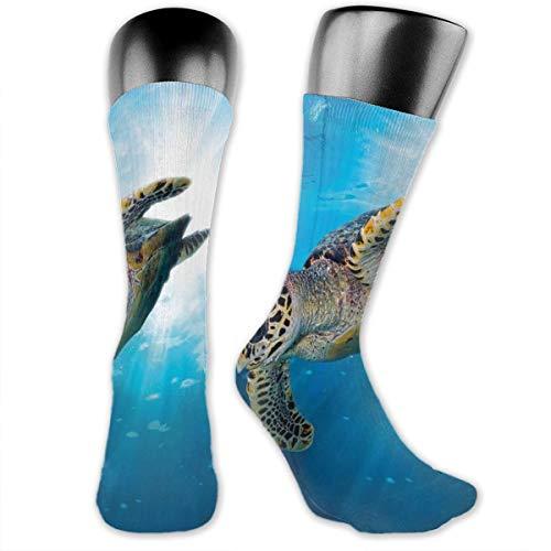 Papalikz Compression Medium Calf Socks,Hawksbill Sea Turtle Dive Deep Into The Blue Ocean Against Sun Rays