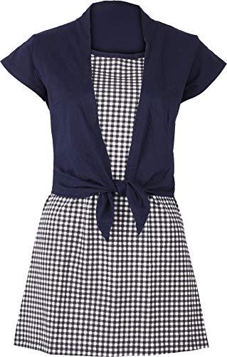 Damen Oberteil Gingham Vintage Pepita Shirt Blau M