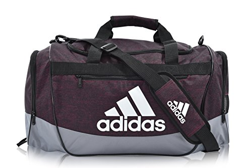 adidas Defender III Medium Duffel Bag, Burgundy Jersey/Black/Grey, One Size
