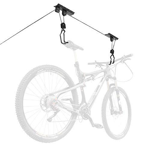 Fahrrad Deckenlift, Queta Fahrrad Bike Lift halterung 50kg Traglast mit Haken, universal, mit Seilbremse For Seilzug, Kajak, Fahrradlift für e-bike, schwarz