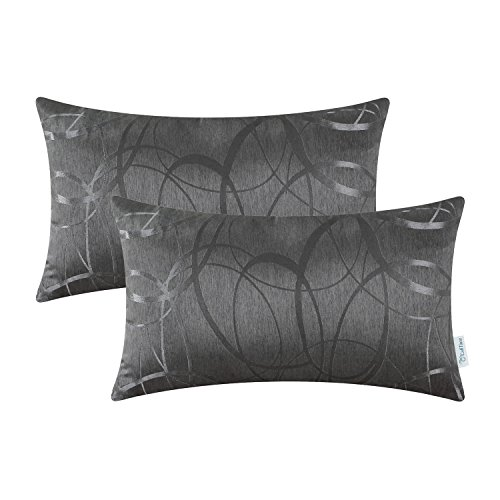 CaliTime Kissenbezüge Kissenhülle Packung mit 2 Kissenbezug Kissenbezüge Schalen für Couch Sofa Home Decor Modern Shining & Dull Contrast Circles Ringe Geometric 30cm x 50cm Grau