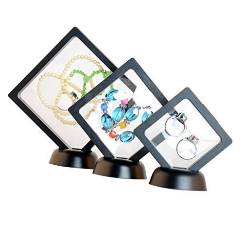 3pcs Transparente Ventana Caja Anillo Collar Joyería Display Stand Holder S M L