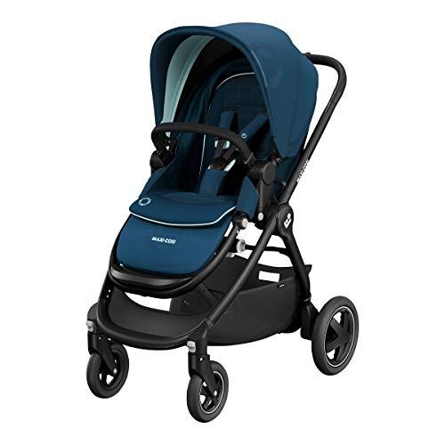 Maxi-Cosi Adorra² - Cochecito de bebé cómodo y plegable con cesta de la compra y múltiples posiciones de asiento, se puede utilizar desde el nacimiento hasta los 4 años (0-22 kg), color azul