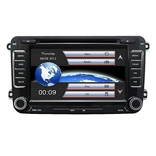YULU Car In Dash Stereo Head Unit Kompatibel mit Golf VW Skoda Sitz, 7 Zoll Touchscreen 2 Din mit Navigation Bluetooth-Unterstützung Radio Lenkradsteuerung DAB mit Rückfahrkamera, 3,5 mm Mikrofon