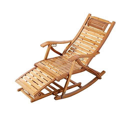 CJSWT Stuhl faltbar/hölzerner Schaukelstühle/Sun-Liege-Stühle & Liegestühle Outdoor-Folding-Rocker aus Bambus, mit Armlehnen-Fußmassagekissen, tragbarer Deck-Recliner