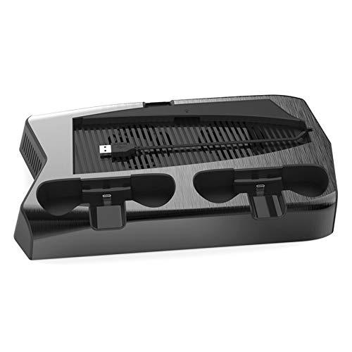 para PS5 Cargador de Controlador Dual Consola Vertical Soporte de enfriamiento Estación de Carga Radiador Ventilador Refrigerador Soporte de Almacenamiento - Negro 1 tamaño