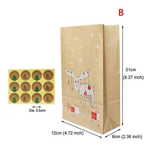 Bags & Wrapping Supplies - 12pcs Fox Moose Snowflake Gift Paper Bag Christmas Kraft Stickers Xmas Candy Food Cookies Packing - & Fox Packaging Fox Bag Doll Packag Bag Party Cream Bag Box Fox Wome