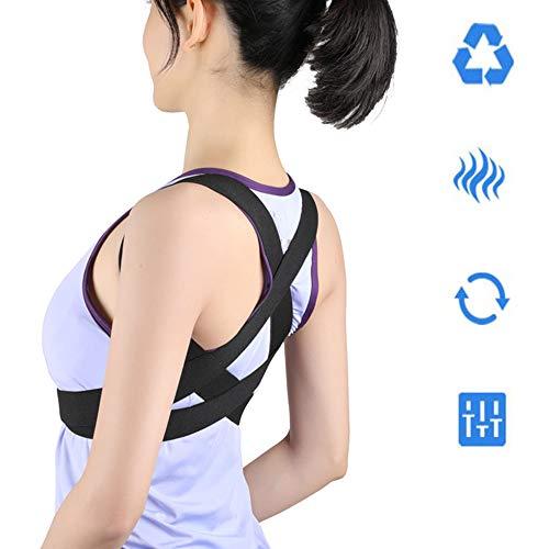 GRX-SHE rugleuning voor nek- en rugpijn – Gebruik op uw bureaustoel, tijdens sporten of in de sportschool, voor mannen en vrouwen, bovenrug stijltang helpt scoliose, ondersteunt schouders S