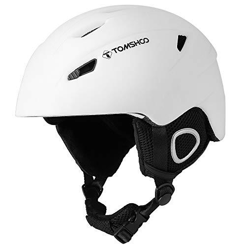 TOMSHOO Casco de Esquí, Casco de Seguridad Certificado Esquí Profesional Snowboard Casco de Deportes de Nieve Orejera (Blanco, L)