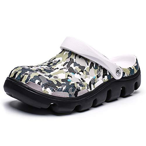 FDSVCSXV Giardino da Uomo Zoccoli Muli, Scarpe da Acqua Antiscivolo Doccia all'aperto Doccia Sandali Traspiranti Pantofole Sandali Traspiranti,F,37