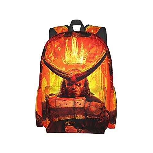 Crown Fire Demons Hellboy Mochila multifuncional de viaje y trabajo escolar para hombres y mujeres de 17 pulgadas de gran capacidad bolsa de almacenamiento bolsa de ordenador portátil