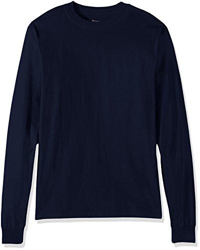Hanes Men's Beefy Long Sleeve Shirt, Navy, M