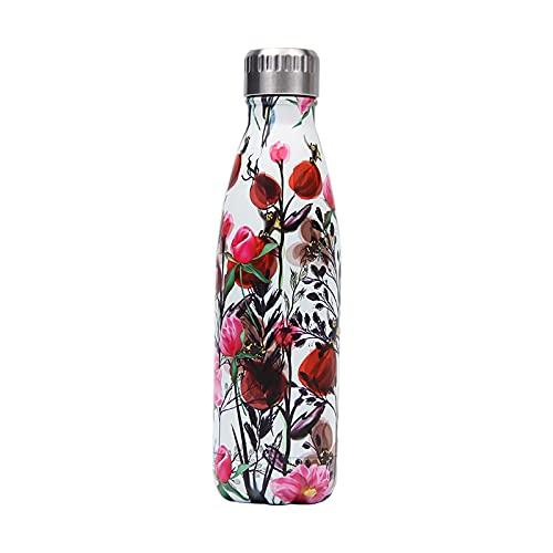 mingtian Botella de Agua Floral de 500 ML, Frasco de Acero Inoxidable, Grabado con láser, Nombre, Termo, Botella de Bebida, Gimnasio, Deporte, agitador, Taza de café 15