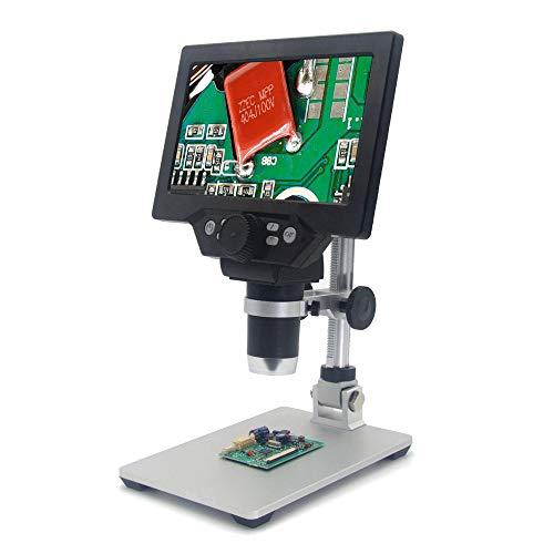 sazoley G1200 Digitales Mikroskop 7-Zoll-LCD-Display mit Farbdisplay und kontinuierlicher 12MP 1-1200X-Verstärkungslupe mit Ständer 2 Arten Optional