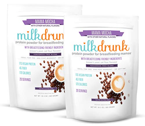 2 Bags Milk Drunk Fenugreek-Free - Mocha Dairy Free Protein Powder for Breastfeeding - 40 Servings of Vegan Protein & Lactation-Boosting Ingredients - Oats, Flax, Brewer's Yeast - Gluten Free