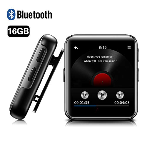 BENGJIE 16GB Clip MP3 Player with Bluetooth, BENGJIE Portable Music Player with Headphones,HiFi Metal Audio Player with Voice Recorder,E-Book, 1.5 Inch Touch Screen Mini MP3 Player for Running,Sliver