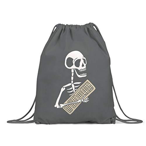 BLAK TEE Funny Halloween Skeleton Keyboard Organic Cotton Drawstring Gym Bag Grey