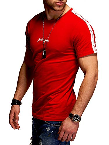 JACK & JONES Herren T-Shirt O-Neck Print Shirt (L, Tango Red)