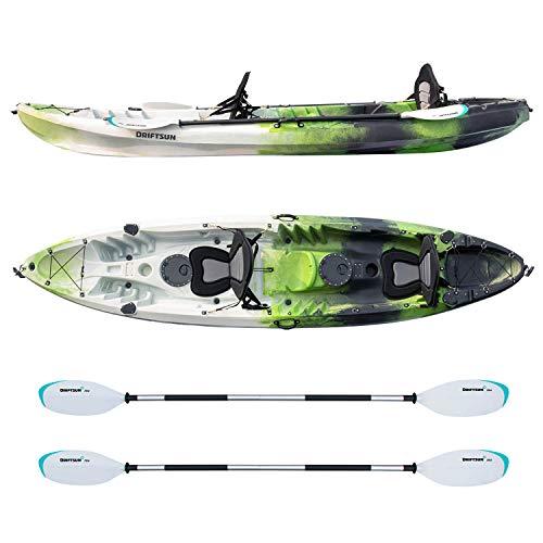 Driftsun Teton 120 Hard Kayak - 2 Person Tandem Sit-On-Top Kayak Package with 2 EVA Padded Seats, 2 Aluminum Paddles and Fishing Rod Holder Mounts