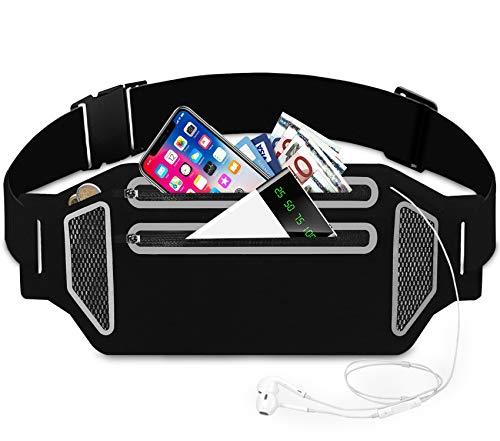 Bioasis Sport Hüfttasche Lauftasche Jogging Laufgürtel Damen Herren Bauchtasche Running Belt für iPhone X XS 8 7 6 Plus Samsung S8 S9 Huawei Smartphone unter 6,5 Zoll Fitness Licht Laufen Gürtel