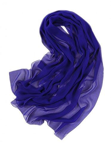 Prettystern prettystern Damen 176cm einfarbig Seiden-Stola Crepe Georgette Schal Königsblau