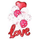 SOIMISS 10 STÜCKE Latex Luftballons Hochzeit Ballon Dekoration Herz Muster Luftballons Valentinstag Luftballons (Rosy Confetti)