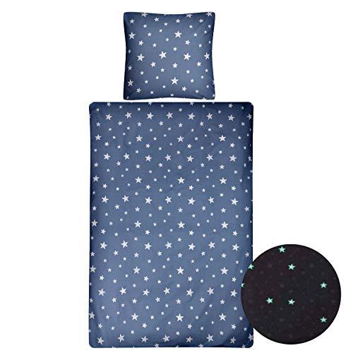 Aminata kids Glow in The Dark Sterne Bettwäsche-Set 135 x 200 cm + 80 x 80 cm aus Baumwolle mit Reißverschluss, unsere Kinderbettwäsche mit Stern-Motiv leuchtet im Dunkeln