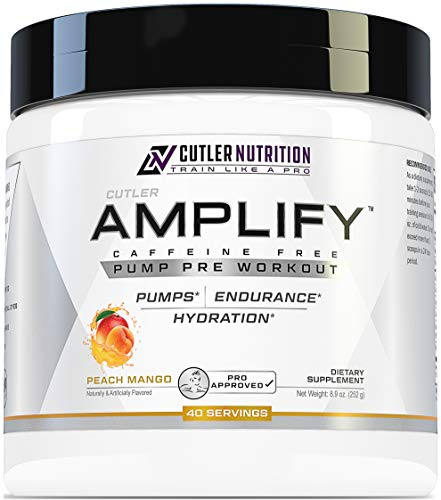 Amplify Caffeine Free Pre Workout for Men and Women: Stim Free Muscle Pump Enhancer, Hydration Powder with Electrolytes, L Citrulline, Creatine HCl for High Volume Training | Peach Mango, 40 Servings