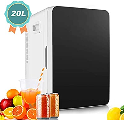 Mini Fridge, 20L Mini Refrigerator Large Capacity Compact Cooler and Warmer with Temperature Control, Single Door Mini Fridge Freezer for Cars, Road Trips, Homes, Offices & Dorms
