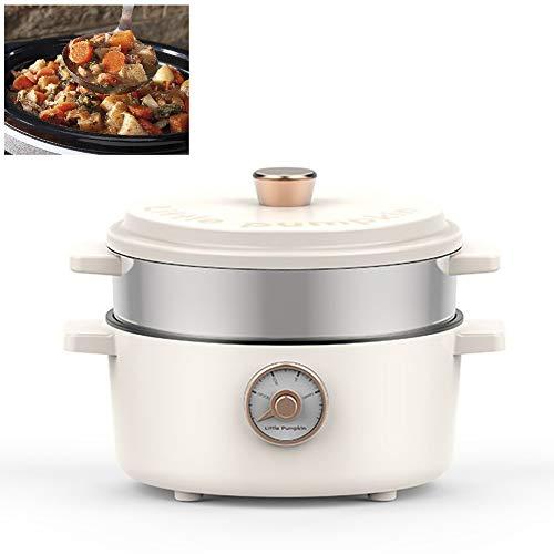 Hot Pot électrique meilleur mijoteuse antiadhésifs Poêle électrique multifonctions de cuisine Cuisine Pot Appareils 2L,White with steamed grid