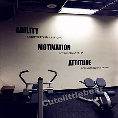 Adesivi Murali Palestra Poster In Vinile Motivazionali Fitness Citazioni Adesivi Murali Abilità Motivation Attitude Gym Decor 99X198Cm