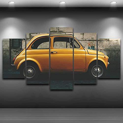 DGGDVP Pinturas modulares Impresas en HD Modernas 5 Paneles Amarillo Decoración de Coches Antiguos Antiguos Imágenes Carteles Arte de Pared Cuadro Tamaño de Lienzo 1 Sin Marco