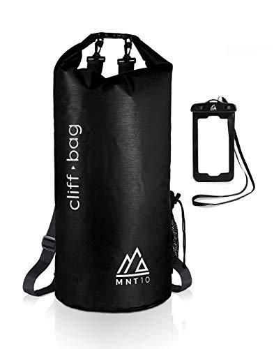 MNT10 Dry Bag 'Cliff-Bag' en 20L, 30L, 40L I Drybag Mochila para SUP, canoa, kayak I Bolsa impermeable con correas para los hombros I Bolsa impermeable I para teléfono móvil (negro, 30L)