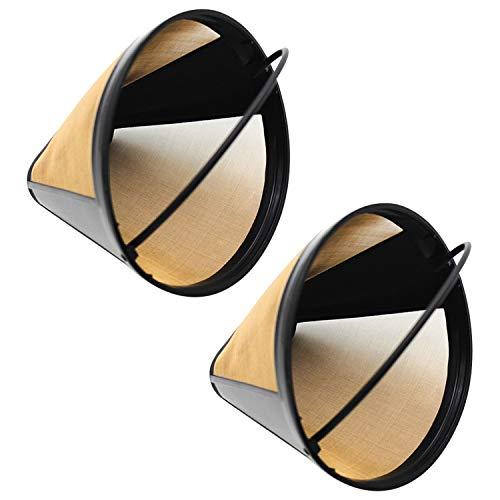 Kaffeefilter,Kaffeekanne Filter,2 STÜCKE Wiederverwendbare Replacment Kegelform Edelstahl Kaffee Filter für Home Office Wohnung