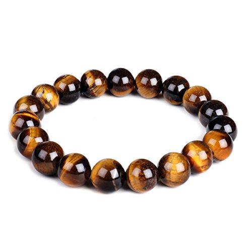 Bracelet Énergétique de Yoga et de Charme avec Perles de 10 mm en Pierre Oil de Tigre - Élastique - Unisexe - 10 mm