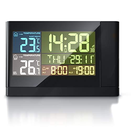 CSL-Computer Funk Wetterstation mit Farbdisplay - mit Außensensor - DCF Empfangssignal Funkuhr - Innen- und Außentemperatur - inkl. Projektionsdisplay - LCD-Display