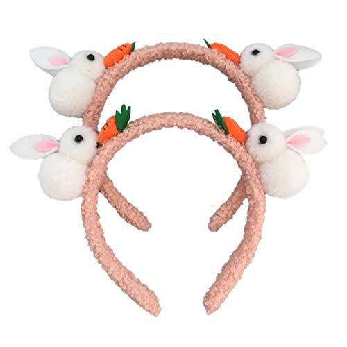 Lurrose 2 Piezas Diadema de Zanahoria de Conejo para Nios Diadema de Pelo de Pascua Diadema de Felpa de Conejito Tocado de Fiesta de Vacaciones Accesorio de Foto para Disfraz de Cosplay