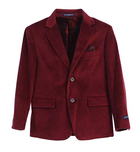 Gioberti Little Boys Formal Velvet Blazer with Designed Buttons, Burgundy, Size 7