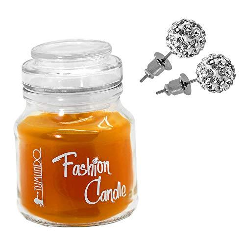 tumundo Fashion Candle Pendientes Oreja Aretes Bola Disco Strass Piedras De Cristal Shamballa Acero Vela De La Joyería